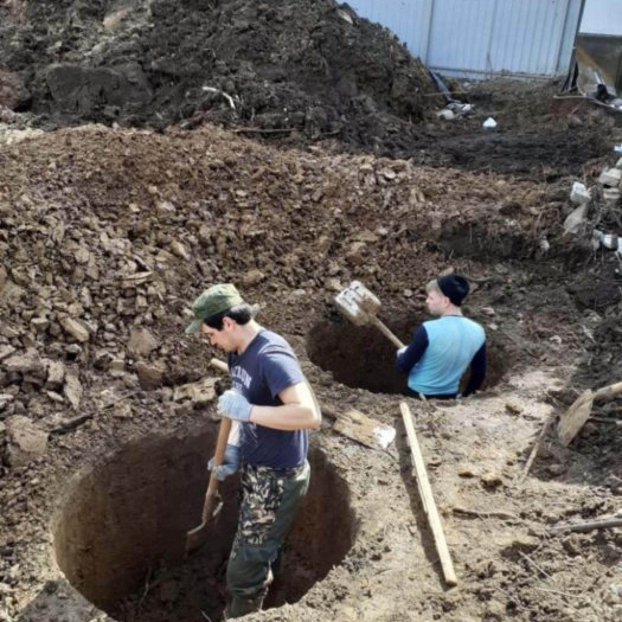 Копка дренажного колодца 4 шахты